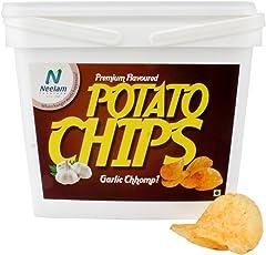 Neelam Foodland Box Pack Premium Flavoured Garlic Chhomp Potato Chips, 200g