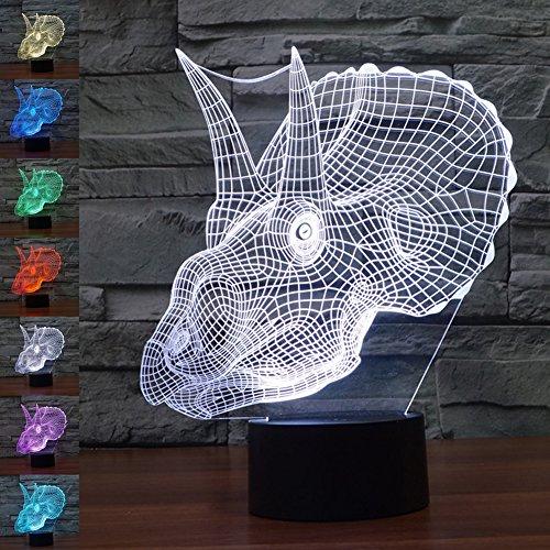 3D Ilusión Lámpara Luz Nocturna Jawell dinosaurio 7 colores cambiantes toque USB...