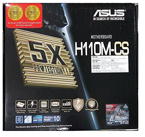 Asus H110M-CS Desktop 6th Generation Motherboard 5X Protection II LGA1151 DDR4 2133 D-Sub USB 3.0 sata 6Gbs Pci-E 16x COM Header LPT Header TPM Header