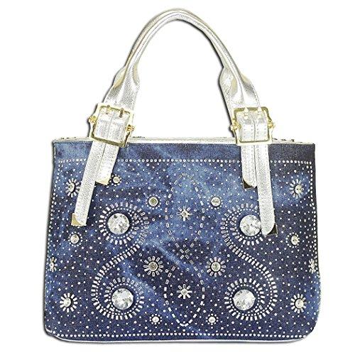 Damen Denim Schultertaschen Henkeltaschen Damentasche Schultertaschen Handtasche (Denim Blue+ PU Silber) Kaxidy PaWoEG2