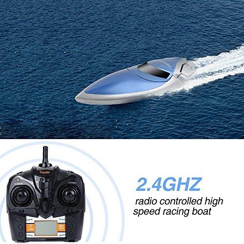 RC Boot High Speed Boot 2,4 GHz 20MPH mit Kapsel Standard Funktion Fernbedienung Spielzeug für Jungen mit Extra Batterie (Blau Weiss) - 6