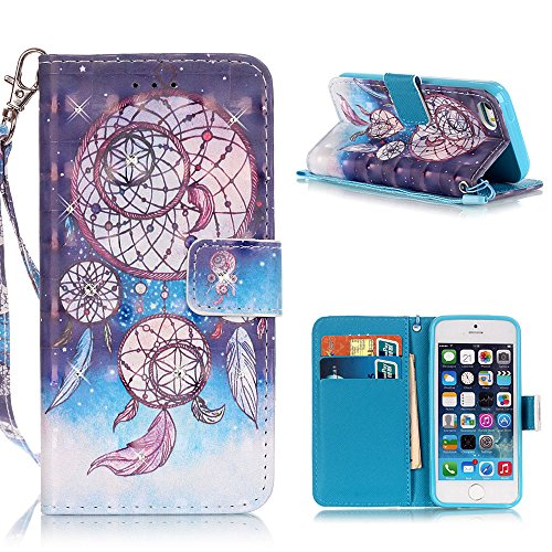 MOONCASE iPhone SE Coque, Creative 3D motif Bling Diamond Case Portefeuille Housse en Cuir Etui à rabat avec Béquille pour iPhone 5 / 5S / iPhone SE -Balloon Bear Dreamcatcher