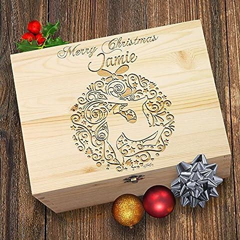 Merry Christmas Deer Christbaumkugel Persönlicher Weihnachten Holz Gravierter