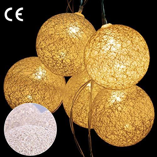 AGPTEK 20er Lichterkette, Automatische Schaltfunktion Metalldraht (nicht Cotton) Ball Lichterkette, Lichterkette mit Batterie, Wohnzimmer Dekoration, Warmweiß