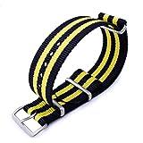 Cinturino MiLTAT 20mm o 22mm G10 cinturino orologio militare cinturino in nylon balistico, sabbiato - Nero e Yellow