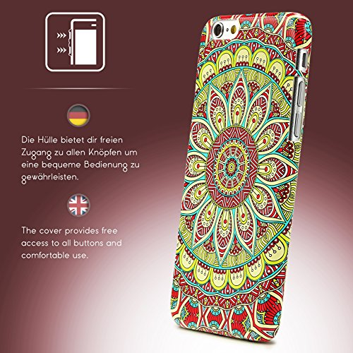 Coque iPhone 6 / 6s, Urcover Mandala Colorful Case Housse Apple iPhone 6 / 6s Étui Rigide et Colorée Téléphone [Plastique Dur] Bleu Clair Cover Rouge