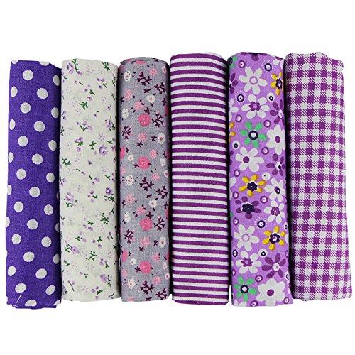 UOOOM 6 Stueck 50 x 50cm Stoffpakete Patchwork Stoffe Baumwolle tuch DIY Handgefertigte Nähen Quilten Stoff Baumwollgewebe Verschiedene Designs (Violett)