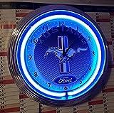 Schwäbische Uhren Manufaktur Neon Clock Horloge Fluo Ford Mustang Blue Neon Sign De Carbone Rim Bleu Fluo Atelier Horloge Murale