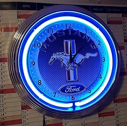 Neon Clock Horloge Fluo Ford Mustang Blue Neon Sign De Carbone Rim Bleu Fluo Atelier Horloge murale