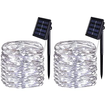 [2 Pack] BOLWEO Solar Powered String Lights,Solar Fairy Lights,10 Meters/ 33Ft 100LEDS / 8 Modes,Waterproof Copper Wire Lighting for Indoor,Outdoor,Wedding,Patio,Home,Garden Decoration (Cool White)