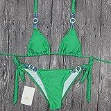 Sexy Luxus grünen Bikini Set Verband Badeanzug Strass Damen 2018, L