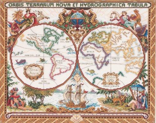 Janlynn Olde Weltkarte, Kreuzstich-Set