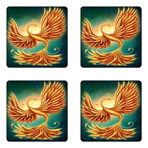 Lunarable Moderner Untersetzer Set mit Vier Phoenix magische Federn mit verführerischen Wirbeln, quadratische Untersetzer aus Hartfaserplatte glänzend für Getränke, Ringelblume und Smaragd