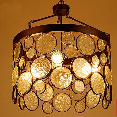 Vier Helle Eisen (4 Kopf Glas-Eisen Schlafzimmer Anhänger Licht, American Retro, Wohnzimmer, Studie, Bar)