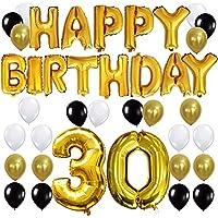 KUNGYO Joyeux Anniversaire Happy Birthday Lettres Ballon+Nombre Mylar Foil Ballon +24 pièces Noir Or Blanc Latex Ballon- Décoration de Fête D'anniversaire Parfaite