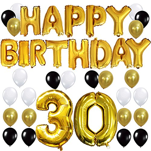 y Buchstaben ballons +Nummer 30 Mylarfolie Ballon + 24 Stück Schwarzes Gold Weiß Luftballons -Perfekte 30 Jahre alte Geburtstagsfeier Dekoration Lieferungen (30. Geburtstag-dekorationen In Schwarz Und Weiß)