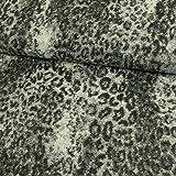 Wollstoff Tierprint Leopard grau Mantelstoff - Preis gilt