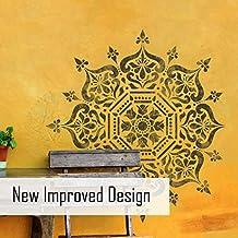 Bukhara medallón Circular Stencil–indio muebles suelo pared diseño, mediano