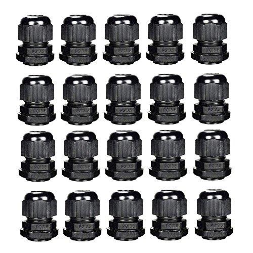 PG13.5 Kabelverschraubungen Kunststoff Stopfbuchse Schwarz IP68 Wasserdicht Kabelverschraubung Ø 6mm-12mm Packung mit 20 (PG13.5 20pcs)
