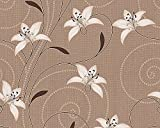 #7: Excel Wallpapers, Style Floral, Vinyl With Non-Woven Back-BROWN & BEIGE-57 SQFT (Ideal for Bedroom) - Made In Germany