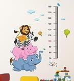 Decals Design 'Cartoon Height Scale wit Elephant Hippo Zebra and Lion' Wall Sticker (PVC Vinyl, 60 cm x 90 cm x 1 cm…
