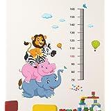 Decals Design 'Cartoon Height Scale wit Elephant Hippo Zebra and Lion' Wall Sticker (PVC Vinyl, 60 cm x 90 cm x 1 cm), Multic