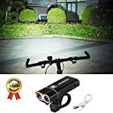 VastFire Easy Installation Waterproof Cycling Flashlight, 2000 Lumens USB Rechargeable Bicycle Light LED Bike Front Light fits Road Bike, Mountain Bicycle