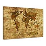 Kunstdruck - Weltkarte Retro II farbig - Bild auf Leinwand - 60x50 cm - Leinwandbilder - Urban & Graphic - Erde - grafische Darstellung - detailliert - einmalig