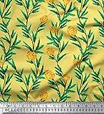 Soimoi Gelb Satin Seide Stoff Blätter & Rose Blumen- Dekor