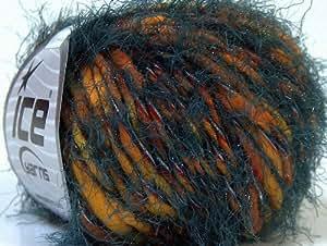Laine pour tricot - Bergamo - 5-6 mm / US 8-10 - Dark Grey, Yellow, Orange - Lot de 8 pelotes - fnt2-30103