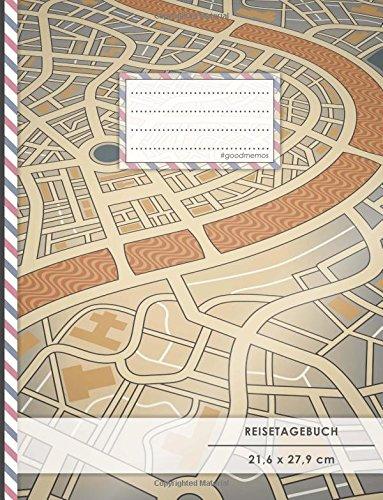 """Reisetagebuch: DIN A4, """"Vintage Map"""", 70+ Seiten, Softcover, Register, Kontaktliste • Original #GoodMemos Travel Diary • Reiselogbuch zum Selbstgestalten"""