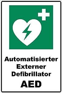 Schild Automatisierter Externer Defibrillator Aed Schild Rettungszeichen Grün 30 X 20 X 0 3 Cm Hartschaumplatte Baumarkt