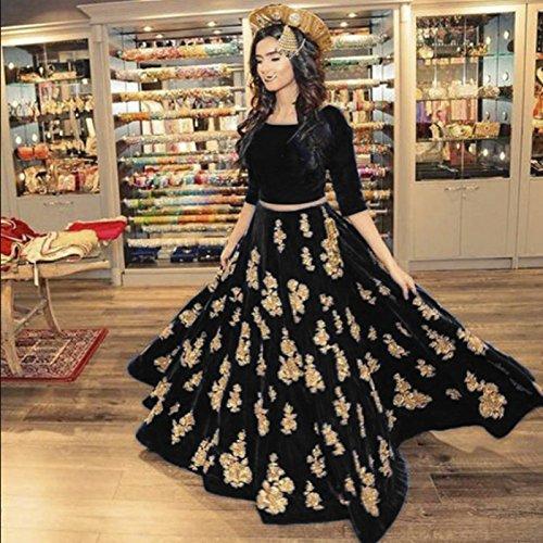 Vastra fashion Women's tafeta silk Black color heavy embroidery lehenga choli