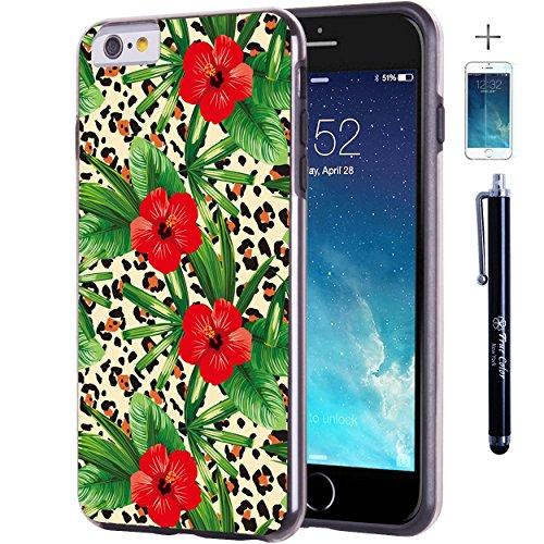 iPhone 6 6S Plus 14 cm Fall, Hülle, Case True Color® Tropical Hibiscus Blumen auf Leopard Slim Hybrid Hard Back + weich TPU Bumper Schutz Langlebig [True Schützen Serie] + kostenlosem Stylus und Displ schwarz