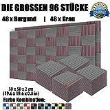 Super Dash 96 Stucke von 50 X 50 X 2 cm Burgund & Grau Akustikschaumstoff Noppenschaumstoff Akustik Dammmatte Schallisolierung Schaumstoff Polster Fliesen SD1035 (BURGUND & GRAU)