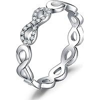 JewelryPalace Anelli Donna Argento 925, Fedine Fidanzamento Coppia, Anello Infinito Nodo, Eterno Amore Diamante Simulato…