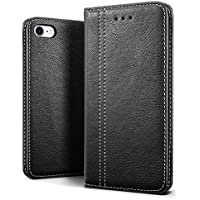 SLEO iPhone 8 Case ,iPhone 7 Case, SLEO Luxury Retro Wallet Leather Case,[Slim Fit] Soft Tactile Elegant Case Cover with Embedded Magnetic Closure for iPhone 8 / 7 (Black)