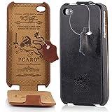 PCARO® Smooth Jazz ECHTLEDER Hülle für Apple-iPhone-4-4S HANDMADE RINDSLEDER Leder Tasche in Schwarz - Ledertasche inkl. Display Schutzfolie - ORIGINAL COVER