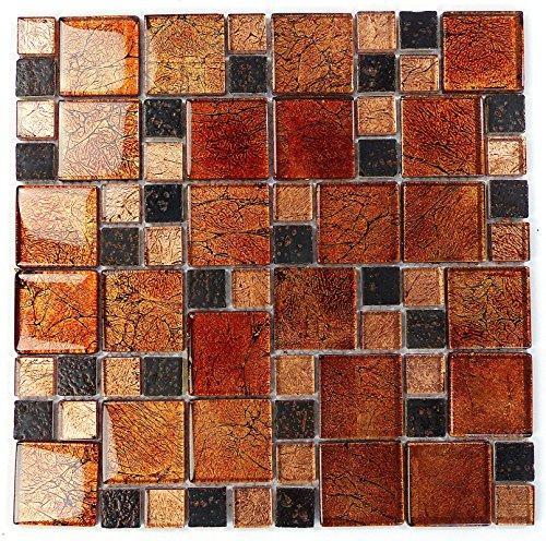 Fliesen Mosaik Mosaikfliesen Glas glänzend Braun Bad WC Küche 8mm Neu #S08 - Kupfer-mosaik-glas