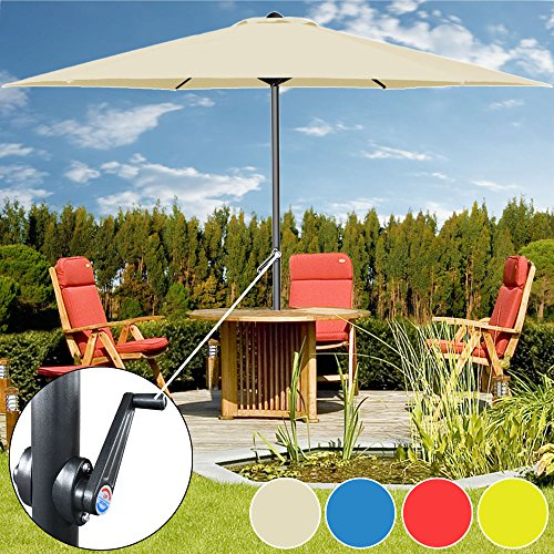 Kurbelsonnenschirm Aluminium Ø300cm mit Kurbel + Dachhaube mit Neigevorrichtung beige - Sonnenschirm Marktschirm Gartenschirm