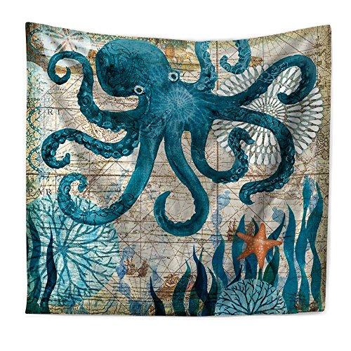 eureya Mediterraner Marine Tiere Muster Bohemian Tapisserie Wandbehang Kunst Dekorative Wandbehang für Wohnheim Picknick Beach Tabelle Überwurf, Polyester, Octopus, 51