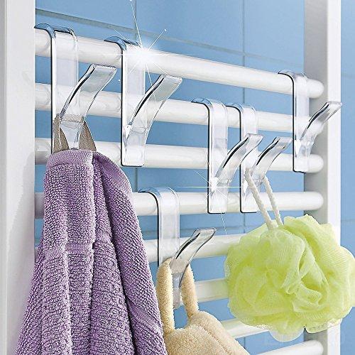 adezimmer Habdtuchhalter Handtuch Halter Haken-Set Haken Handtuchhalter Transparent 2,5x10,5x7 cm ()