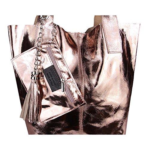 OBC Femmes Métallique Sac Shopping Hobo Sac Sac À Bandoulière Sac À Main À Poignées sac - Argent 45x34x13, ca 45x34x13 cm (LxHxP) Rosa-Leder 42x35x16