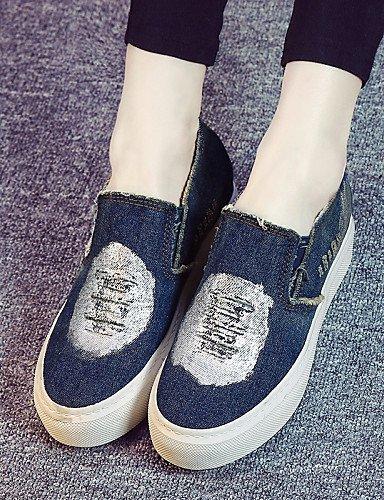 ZQ gyht Damenschuhe - Halbschuhe / Slippers - Outddor / L?ssig - Denim Jeans - Plateau - Plateau / Creepers / Komfort / Rundeschuh -Schwarz / black-us6 / eu36 / uk4 / cn36