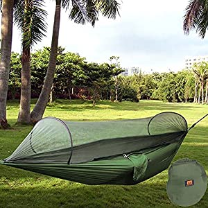 camping hammock with zipper mosquito nets egymcom multi-functional outdoor pop-out camping hammock for single person