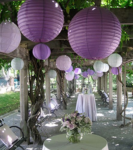 SUNBEAUTY 3er/5er/10er Set Tissue Papier Lampion Feier Party Zeremonie Dekor (20cm (5 Stück), Violett) -