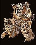 KSG - PPCF7 - Peinture Au Numéro - Motif Le Tigre Et Ses Petits - 203 x 254 Mm - Scraper - Cuivre