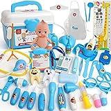 OviTop Arztkoffer Kinder, 37er Set Kinder Doktorkoffer Spielzeug Werkzeug Fördert Rollenspiel für Kinder ab 3 Jahren (Blau)