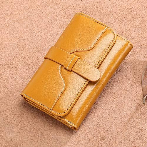 Yajiemei Trifold Multi Card Holder Wallet aus weichem Leder, Elegante Clutch Lange Geldbörse für Damen (Color : Antique Yellow)