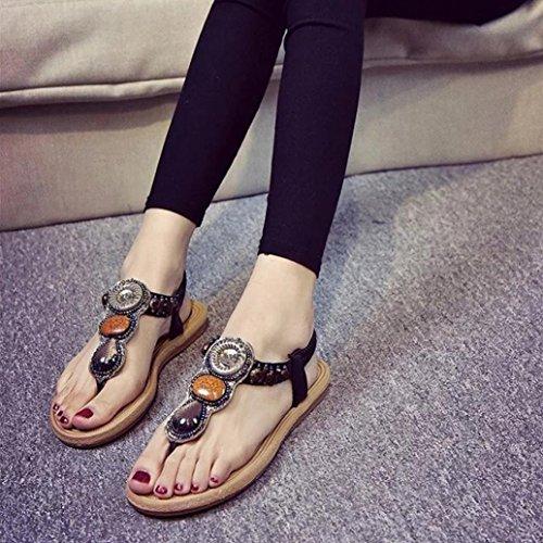 Ouneed® Damen Sandalen , Damen Bohemian Bling Diamond Frauen Edelstein Hausschuhe Sommer Strand Sandalen Flip Flops flache Schuhe Schwarz